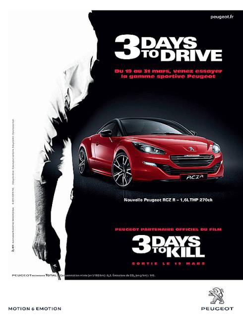 """Autoperiskop.cz  – Výjimečný pohled na auta - Vozy Peugeot RCZ a 208 GTi a speciálně upravené jízdní kolo se objevují v novém filmu """"3 Days to Kill"""""""