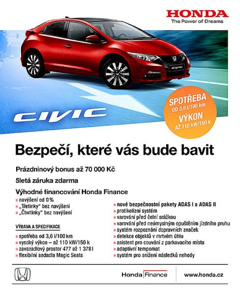 Honda Civic 5D 1.8 i-VTEC s bonusem 70 000 Kč a Honda Civic 5D 1.4 i-VTEC s bonusem 40 000 Kč!