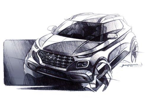 Autoperiskop.cz  – Výjimečný pohled na auta - Zcela nové SUV Hyundai Venue na skicách, premiéry se dočká již za týden