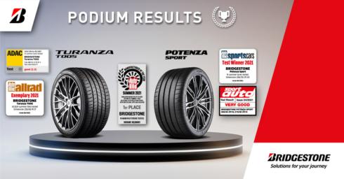 """Bridgestone, """"Výrobce roku"""", sbírá v evropských testech letních pneumatik umístění na stupních vítězů"""