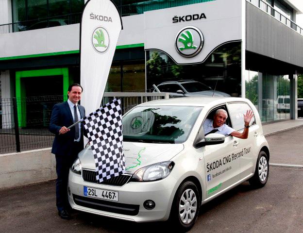 Gerhard Plattner stanovil nový rekord vnízké spotřebě s vozem ŠKODA Citigo CNG