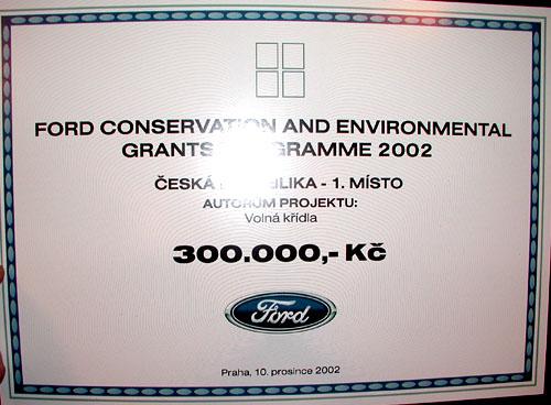 Ford vyhlásil výsledky svého grantového programu na obnovu životního prostředí a kulturního dědictví za rok 2002