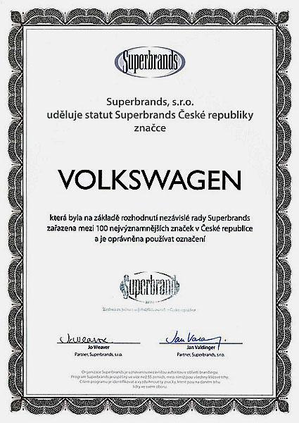 "Volkswagen: ""Superbrand České republiky"""