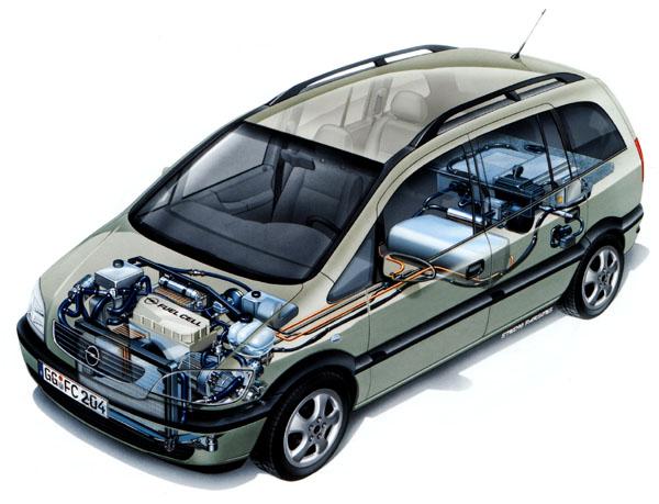 Opel Zafira poháněná palivovými články